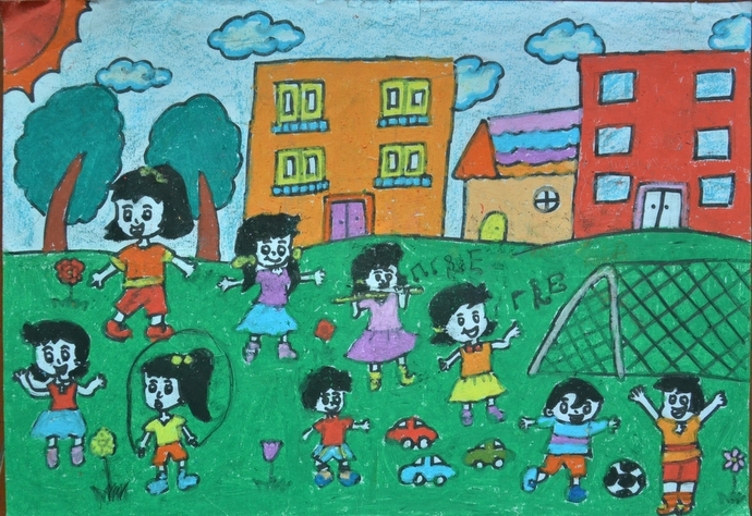 学校 儿童画手绘