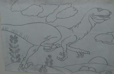 恐龙世界简笔画-正源学校师生携手举办书画作品展